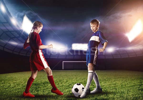 Stock fotó: Futballmeccs · kettő · tinédzserek · iskola · kor · játszik