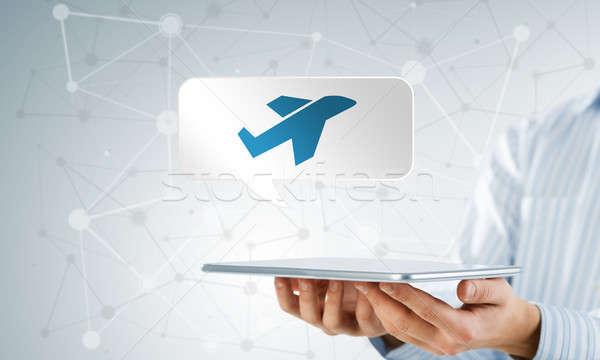 Foto stock: Viajar · aplicação · ícone · empresário · comprimido