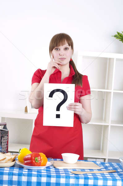 Stock photo: girl holding question sign