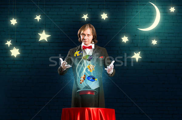 magician casts a spell Stock photo © adam121