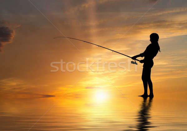 Nyár halászat sziluett tinédzser lány naplemente Stock fotó © adam121