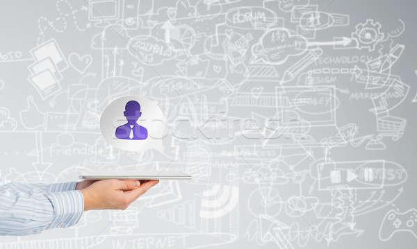 Man presenting interface application Stock photo © adam121