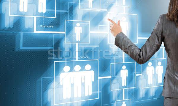 Photo stock: Vue · arrière · femme · d'affaires · travail · numérique