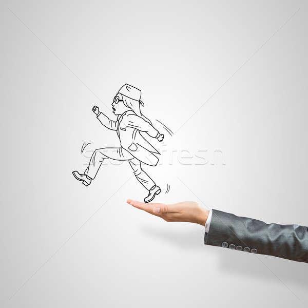 üzletasszony pálma rajzolt női szürke üzlet Stock fotó © adam121