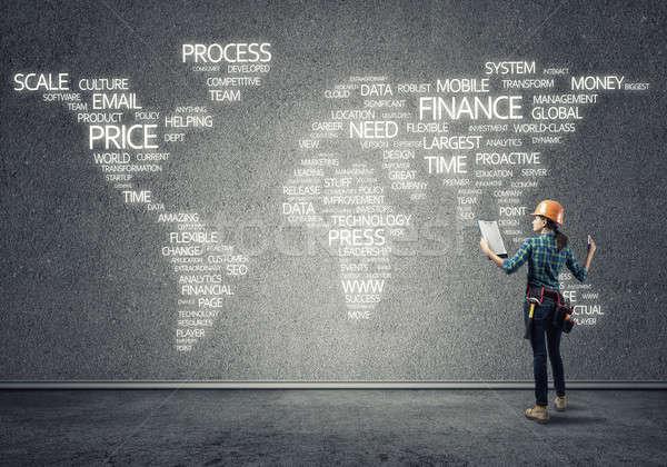 Costruzione globalizzazione femminile stanza business Foto d'archivio © adam121