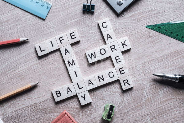 Words work life balance and family on table collected with woode Stock photo © adam121