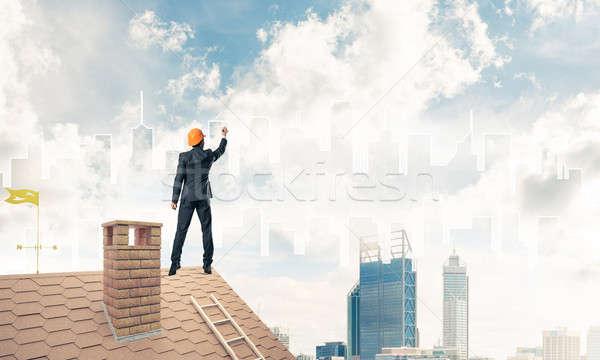 Homme architecte tirer silhouette modernes ville Photo stock © adam121