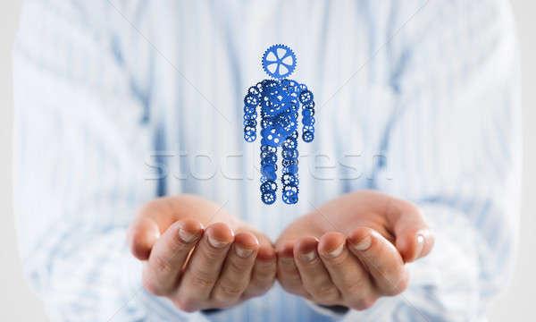 Biznesmen dłoni rysunku narzędzi mechanizm Zdjęcia stock © adam121