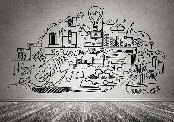 Stratégie d'entreprise planification chambre intérieur affaires internet Photo stock © adam121
