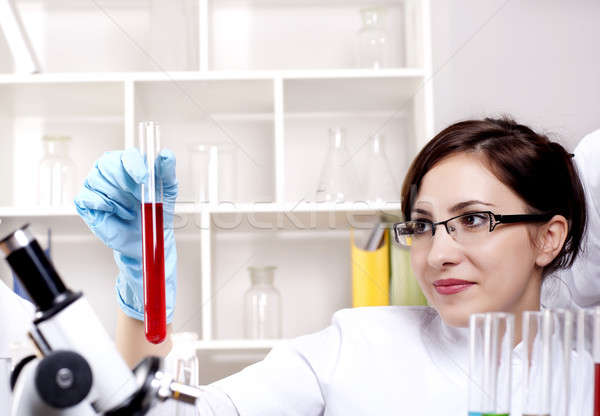 portrait of a beautiful woman chemist Stock photo © adam121