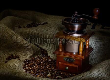 コーヒー ミル 豆 黄麻布 空 ストックフォト © adam121