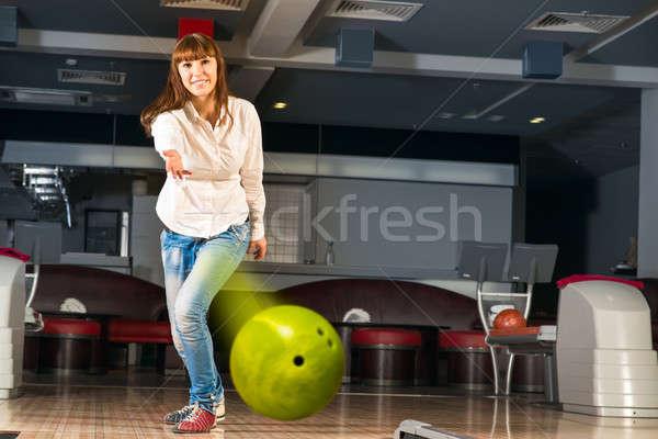 Agradable bola de bolos objetivo sonriendo Foto stock © adam121