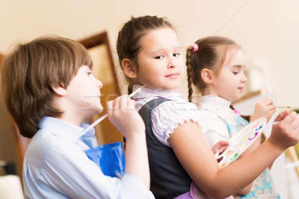 Gyerekek festék lecke művészet iskola mosoly Stock fotó © adam121