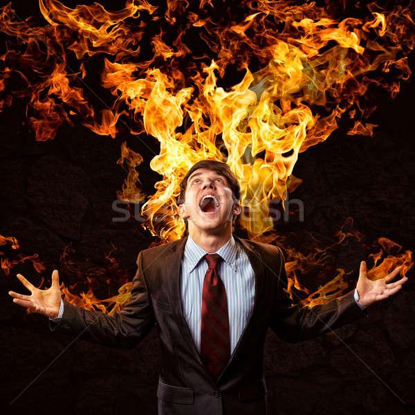 Gwałtowny człowiek wściekły broni osoby Zdjęcia stock © adam121
