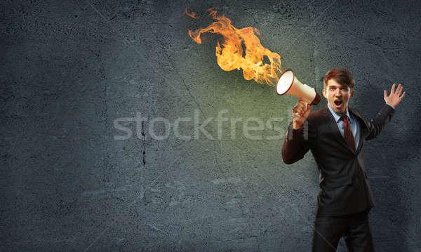 Photo stock: Affaires · mégaphone · agression · affaires · orateur