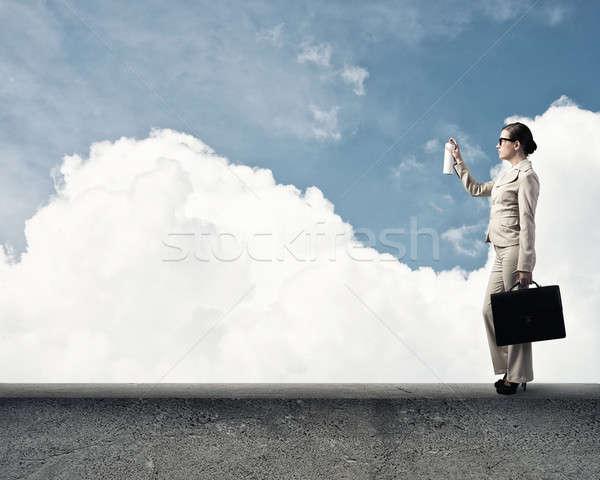 Mulher spray jovem empresária mala balão Foto stock © adam121