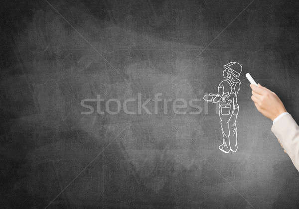 Caricature of builder woman Stock photo © adam121