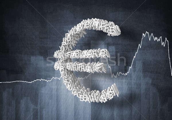 Euro valuta gyakoriság nagy szimbólum grafikonok Stock fotó © adam121