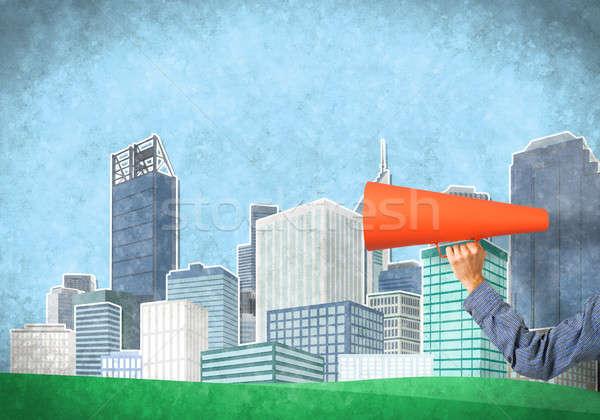 El adam turuncu kâğıt trompet Stok fotoğraf © adam121