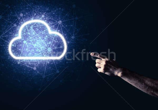 Cyfrowe chmura icon symbol bezprzewodowej związku ciemne Zdjęcia stock © adam121