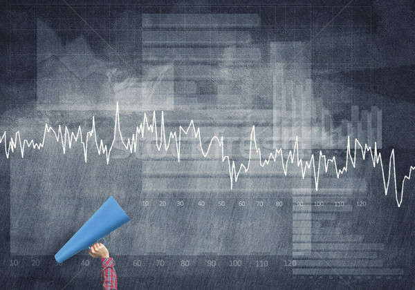 Kéz nő tart kék papír trombita Stock fotó © adam121