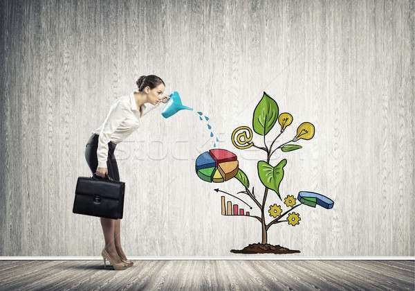 Photo stock: Jeunes · femme · d'affaires · salle · vide · croissance