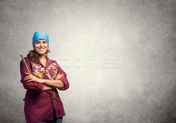 Boyama dünya genç güzel sanatçı kadın Stok fotoğraf © adam121