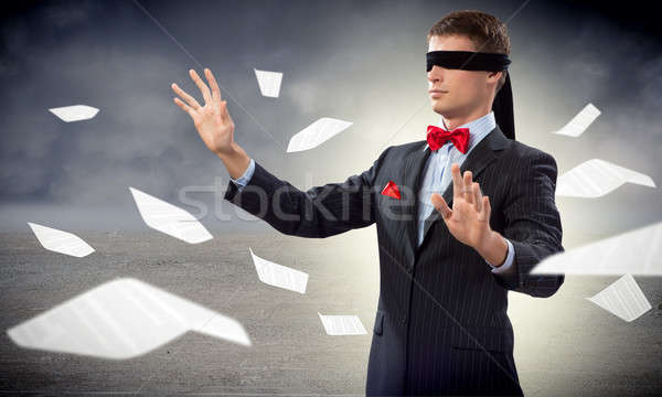 young blindfolded man Stock photo © adam121