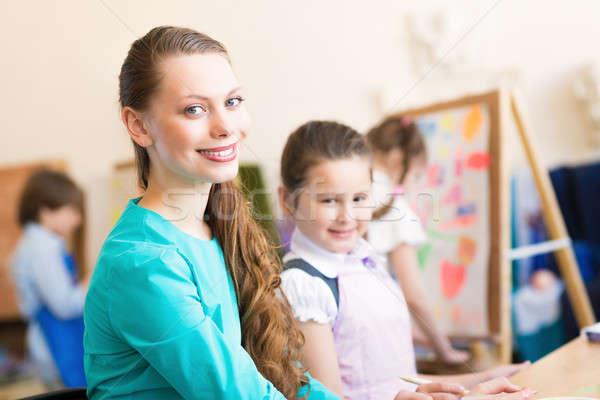 子供 教師 従事 絵画 芸術 学校 ストックフォト © adam121