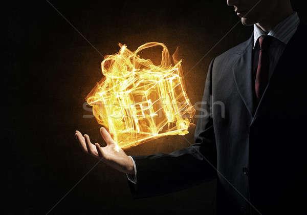 Fire gift box Stock photo © adam121