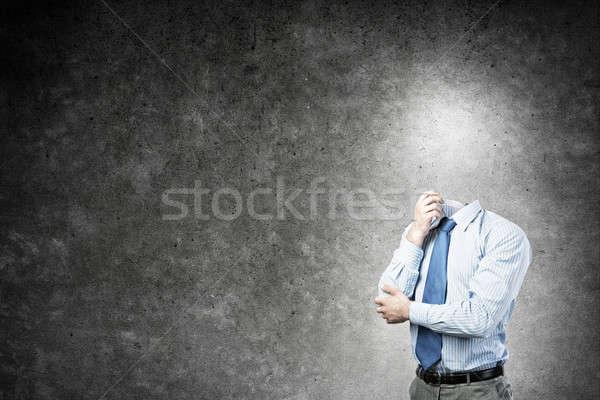 Desconhecido empresário pensativo cabeça concreto negócio Foto stock © adam121