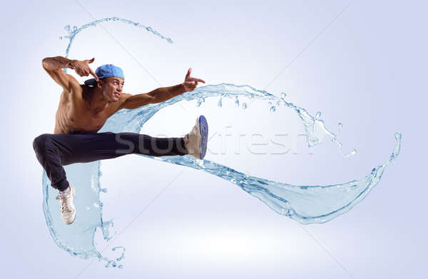 ダンサー 抽象的な コラージュ ジャンプ 色 跳ね ストックフォト © adam121
