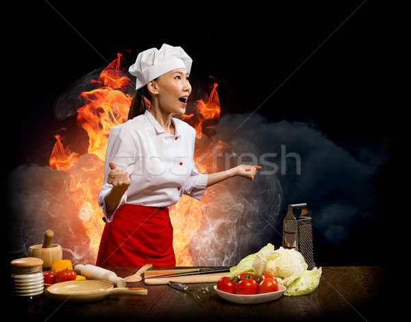 Stockfoto: Asian · vrouw · woedend · kok · collage · chef