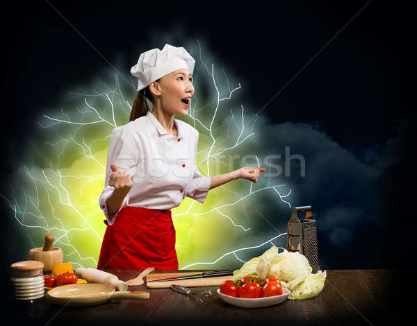 Asian woman furious cook, collage Stock photo © adam121