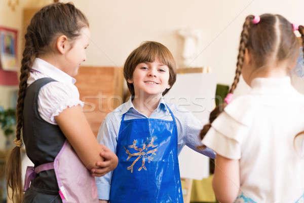 Dzieci zwrócić zdjęcia rysunek lekcja uśmiech Zdjęcia stock © adam121