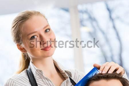Zárt portré nő fodrász fodrász haj Stock fotó © adam121