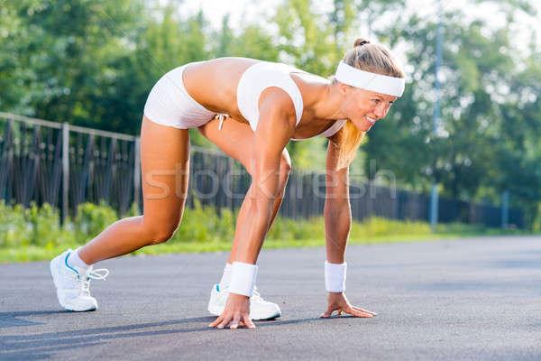спортсмена начала Runner Открытый Постоянный Сток-фото © adam121