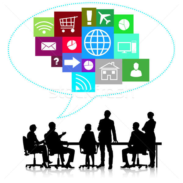 Reunión de negocios grupo gente de negocios siluetas colorido aplicación Foto stock © adam121