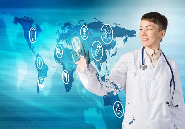 Tehnologie medic atingere icoană Imagine de stoc © adam121