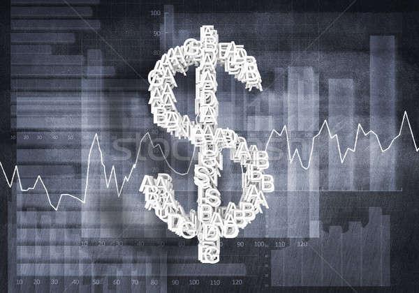 Dollár valuta gyakoriság nagy szimbólum grafikonok Stock fotó © adam121