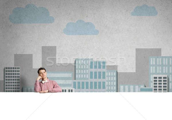 Nudzić człowiek banner młodych facet shirt Zdjęcia stock © adam121