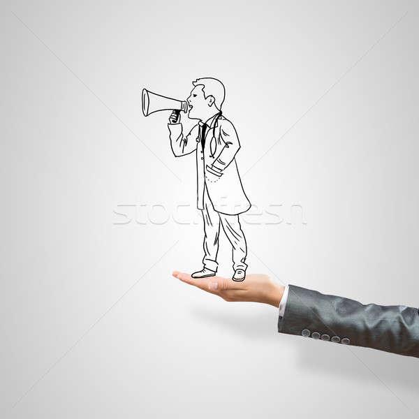 üzletember pálma rajzolt női szürke férfi Stock fotó © adam121