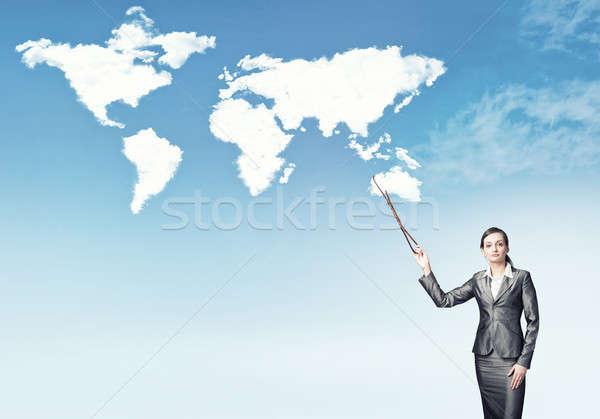 全体 世界 女性実業家 スーツ 世界地図 ストックフォト © adam121