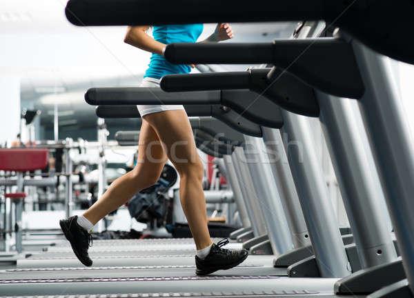 Nő fut futópad fitnessz klub sport Stock fotó © adam121