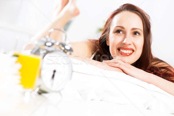 portrait of a young woman in the bedroom Stock photo © adam121
