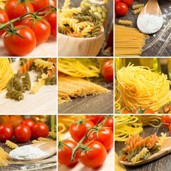 pasta and cherry tomatoes, collage Stock photo © adam121