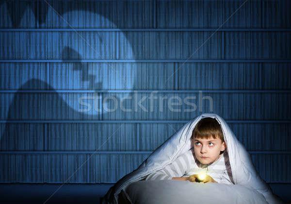 少年 懐中電灯 画像 1泊 幽霊 ストックフォト © adam121