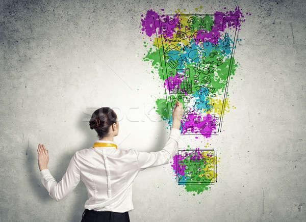 Stock fotó: üzlet · tervez · hátulnézet · üzletasszony · rajz · ötletek