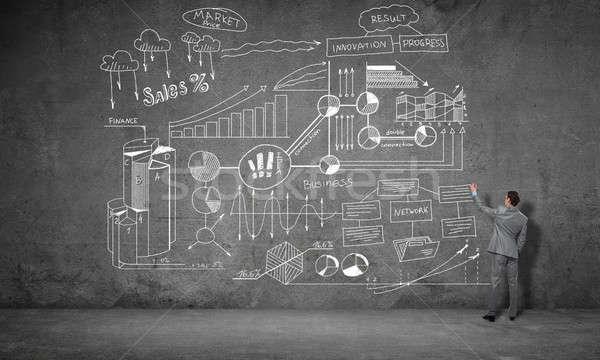 стратегия плана стены вид сзади бизнесмен рисунок Сток-фото © adam121