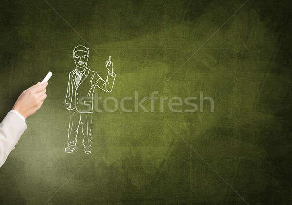 Divertente imprenditore femminile mano disegno gesso Foto d'archivio © adam121